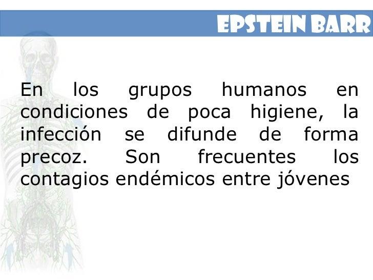 Epstein Barr<br />En los grupos humanos en condiciones de poca higiene, la infección se difunde de forma precoz. Son frecu...