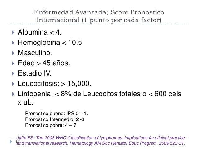 Enfermedad Avanzada; Score Pronostico Internacional (1 punto por cada factor)          Albumina < 4. Hemoglobina < ...