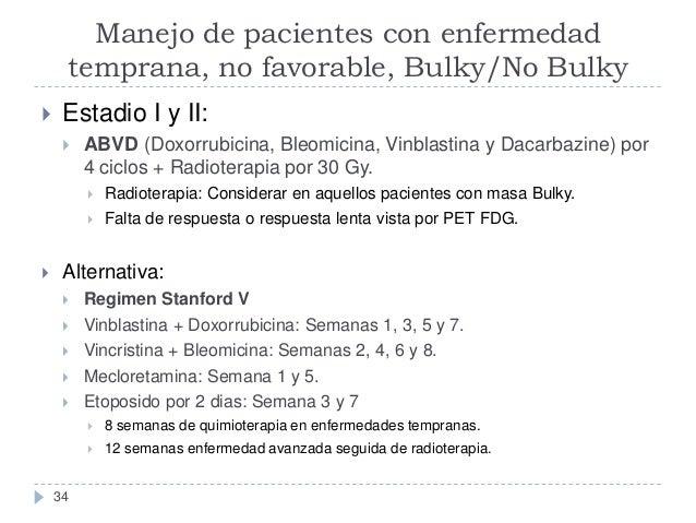 Manejo de pacientes con enfermedad temprana, no favorable, Bulky/No Bulky   Estadio I y II:   ABVD (Doxorrubicina, Bleom...
