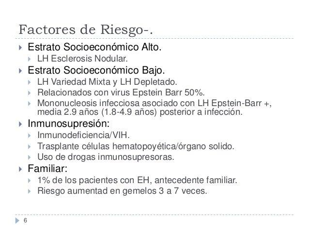 Factores de Riesgo-. Estrato Socioeconómico Alto.      LH Esclerosis Nodular.  Estrato Socioeconómico Bajo.        L...