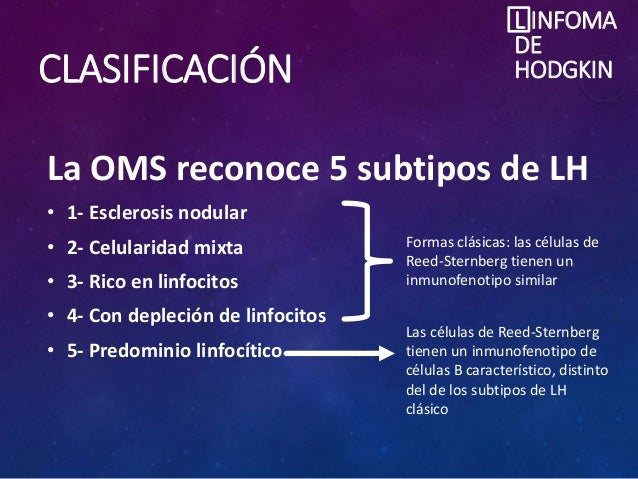 CLASIFICACIÓN La OMS reconoce 5 subtipos de LH • 1- Esclerosis nodular • 2- Celularidad mixta • 3- Rico en linfocitos • 4-...