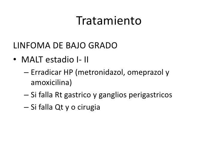TratamientoLINFOMA DE BAJO GRADO avanzado• Quimioterapia mas agresiva (CHOP, BACOP,  BCVP)            ciclofosfamida, adri...