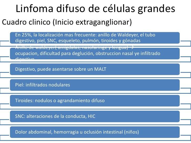 Linfoma difuso de células grandesOtras manifestaciones             Fiebre, sudoracion o perdida de peso (sintomatologia B)...