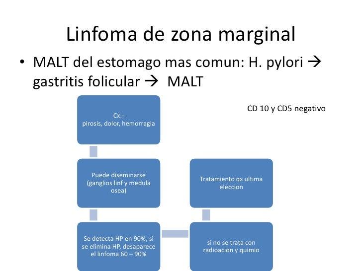 Linfoma del manto• 5 al 10% de todos los linfomas• t(11;14)(q14;32)  ↑ciclina (reguladora ciclo  celular)• + (CD19,20 y 5...