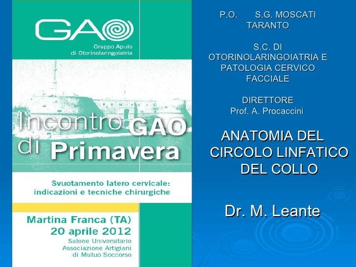 P.O.     S.G. MOSCATI         TARANTO        S.C. DIOTORINOLARINGOIATRIA E  PATOLOGIA CERVICO      FACCIALE       DIRETTOR...