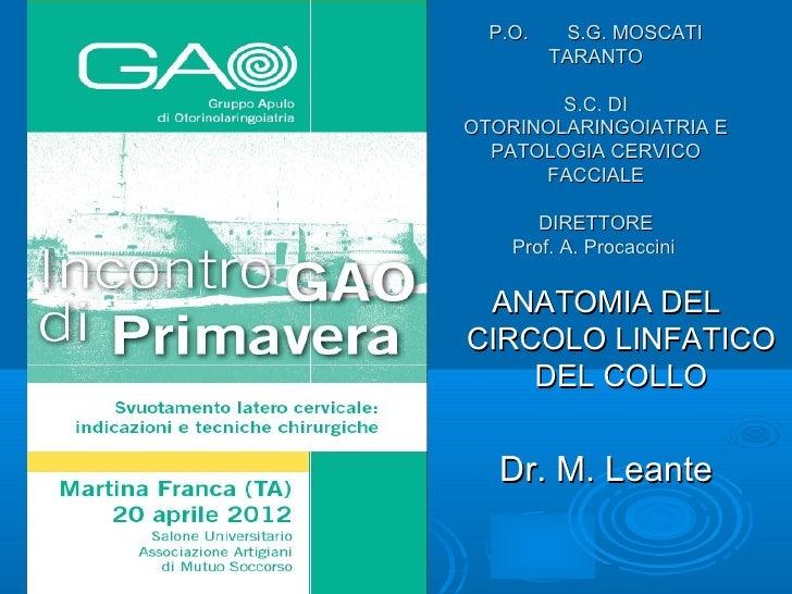 P.O.    S.G. MOSCATI         TARANTO        S.C. DIOTORINOLARINGOIATRIA E  PATOLOGIA CERVICO      FACCIALE       DIRETTORE...