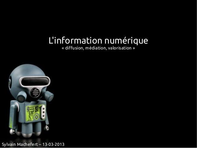 Linformation numérique                            «diffusion, médiation, valorisation»Sylvain Machefert – 13·03·2013