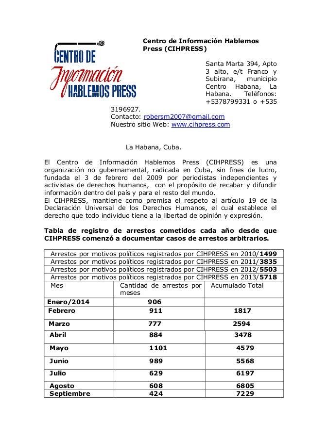 Centro de Información Hablemos Press (CIHPRESS) Santa Marta 394, Apto 3 alto, e/t Franco y Subirana, municipio Centro Haba...