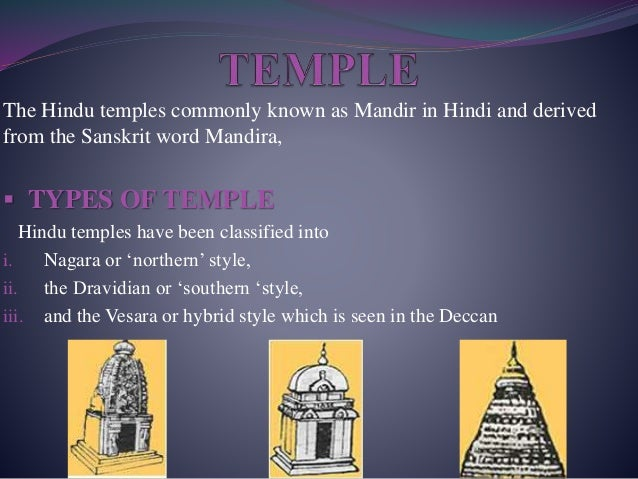 The Hindu temples commonly known as Mandir in Hindi and derived from the Sanskrit word Mandira,  TYPES OF TEMPLE Hindu te...