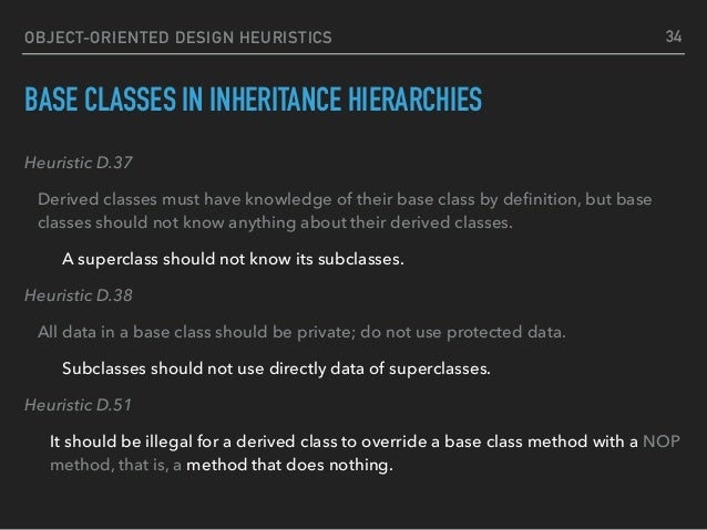 OBJECT-ORIENTED DESIGN HEURISTICS BASE CLASSES IN INHERITANCE HIERARCHIES Heuristic D.37 Derived classes must have knowled...