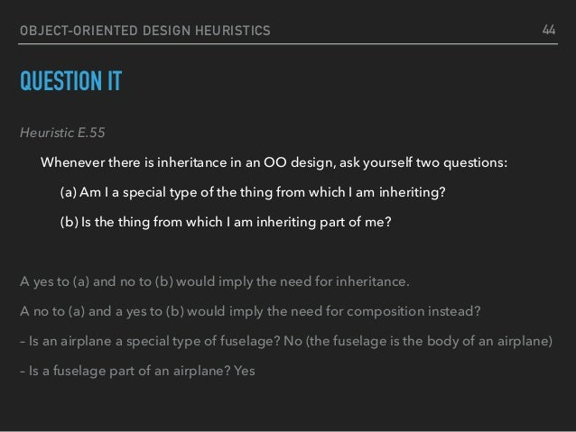 OBJECT-ORIENTED DESIGN HEURISTICS QUESTION IT Heuristic E.55 Whenever there is inheritance in an OO design, ask yourself t...