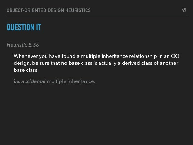 OBJECT-ORIENTED DESIGN HEURISTICS QUESTION IT Heuristic E.56 Whenever you have found a multiple inheritance relationship i...