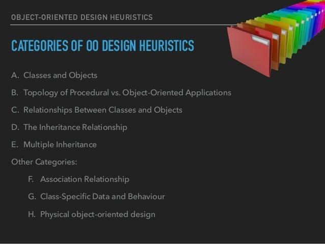OBJECT-ORIENTED DESIGN HEURISTICS CATEGORIES OF OO DESIGN HEURISTICS A. Classes and Objects B. Topology of Procedural vs. ...