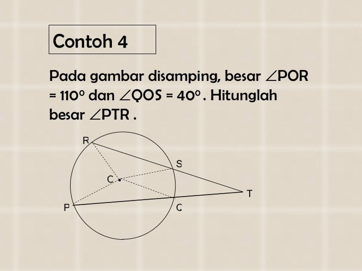Contoh 4 <ul><li>Pada gambar disamping, besar   POR = 110 0  dan   QOS = 40 0  . Hitunglah besar   PTR . </li></ul>P Q ...