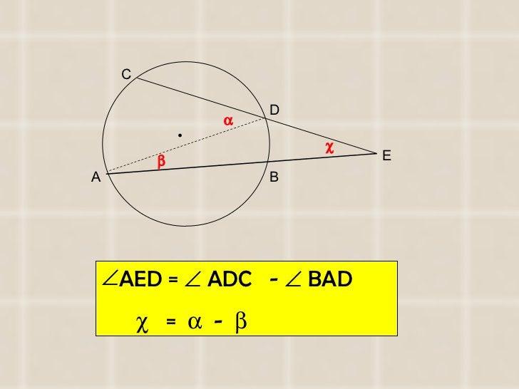 <ul><li>AED =    ADC  -    BAD  </li></ul><ul><li>   =     -   </li></ul>A B C D E    •