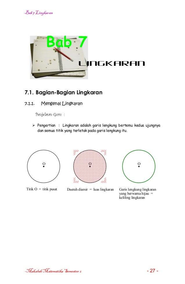 Bab 7 LingkaranBab 7Lingkaran7.1. Bagian-Bagian Lingkaran7.1.1. Mengenal LingkaranPenjelasan Guru : Pengertian : Lingkara...