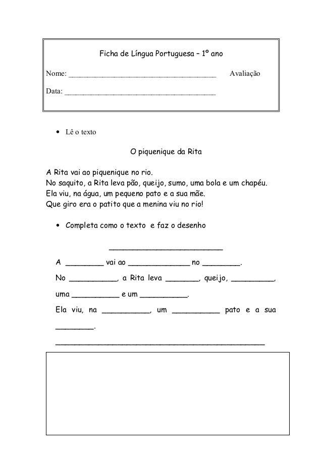 Ficha de Língua Portuguesa – 1º ano Nome: _______________________________________ Avaliação Data: ________________________...