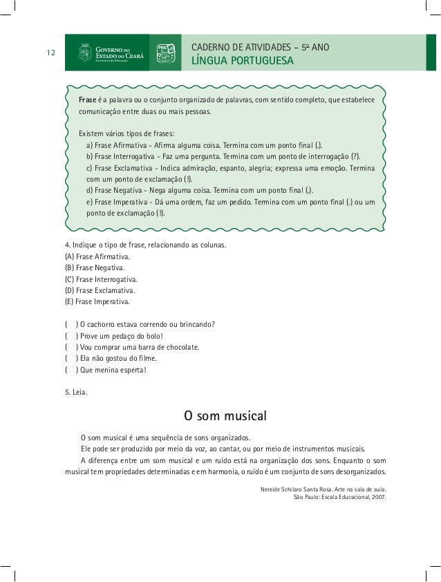 Língua Portuguesa 5º Ano Caderno De Atividades