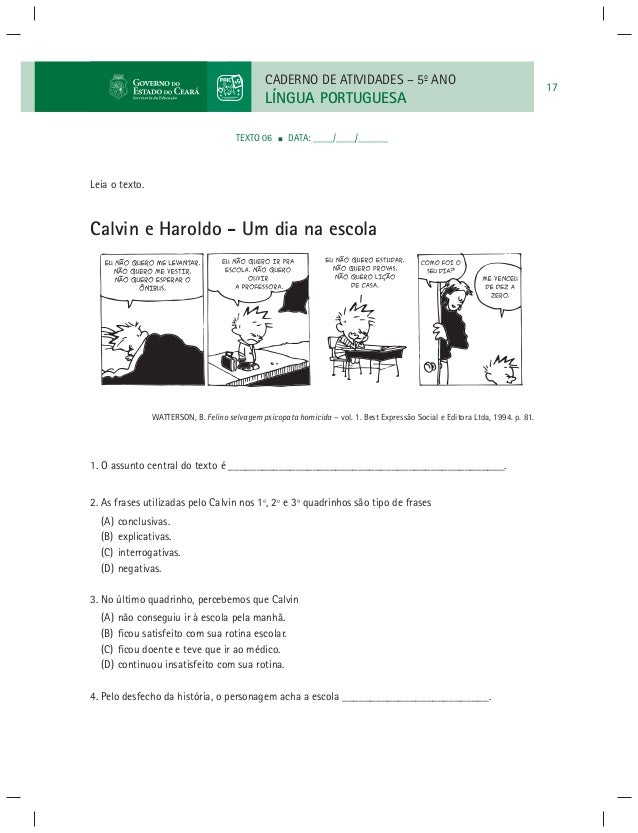 Lingua Portuguesa Caderno De Atividade 5º Ano3ºe4ºbimestre Paic