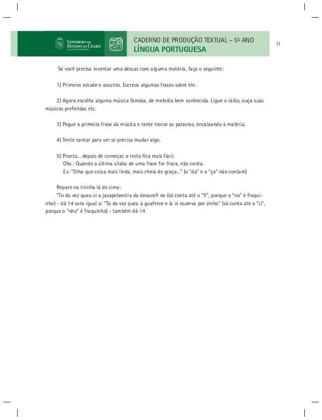 Lingua Portuguesa Caderno De Produção Textual 5º Ano3ºe4ºbimestre