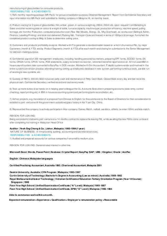 Ling tze sim resume with achievements in finance accounting admin sal…