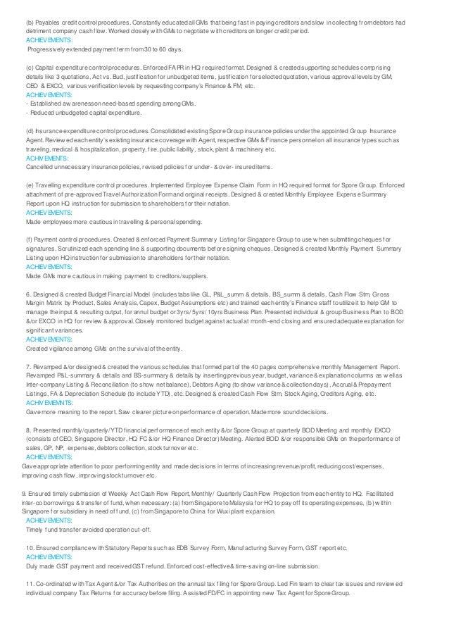 tze sim resume achievements in finance accounting