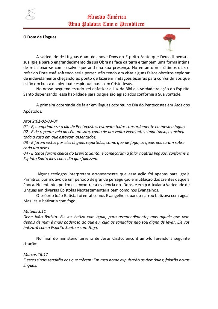 Missão América                         Uma Palavra Com o Presbítero  O Dom de Línguas           A variedade de Línguas é u...