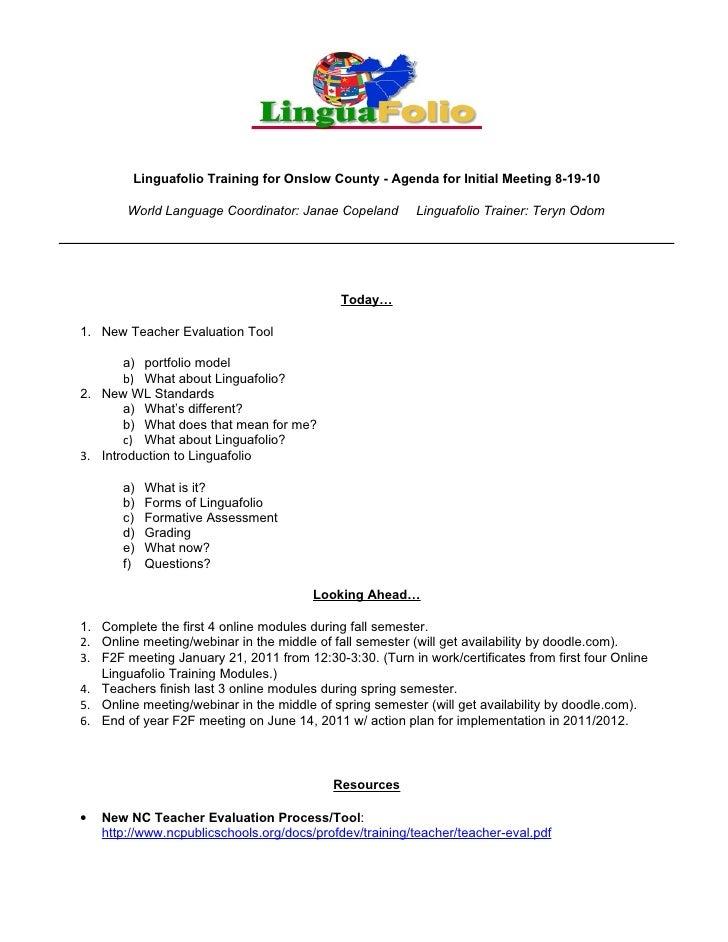 Linguafolio Training for Onslow County - Agenda for Initial Meeting 8-19-10          World Language Coordinator: Janae Cop...