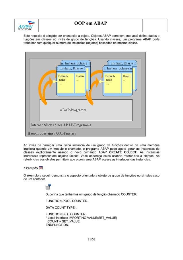 11/70 OOP em ABAP Este requisito é atingido por orientação a objeto. Objetos ABAP permitem que você defina dados e funções...