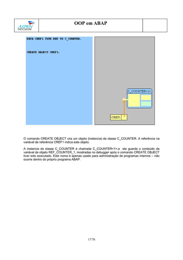 17/70 OOP em ABAP O comando CREATE OBJECT cria um objeto (instancia) da classe C_COUNTER. A referência na variável de refe...