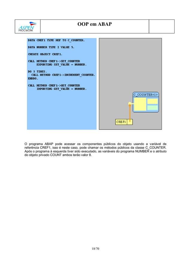 18/70 OOP em ABAP O programa ABAP pode acessar os componentes públicos do objeto usando a variável de referência CREF1, is...