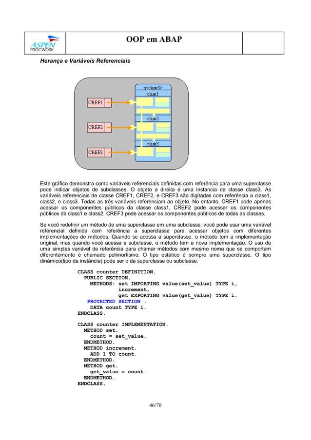 46/70 OOP em ABAP Herança e Variáveis Referenciais Este gráfico demonstra como variáveis referenciais definidas com referê...