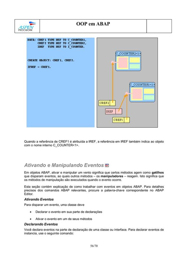 56/70 OOP em ABAP Quando a referência de CREF1 é atribuída a IREF, a referência em IREF também indica ao objeto com o nome...