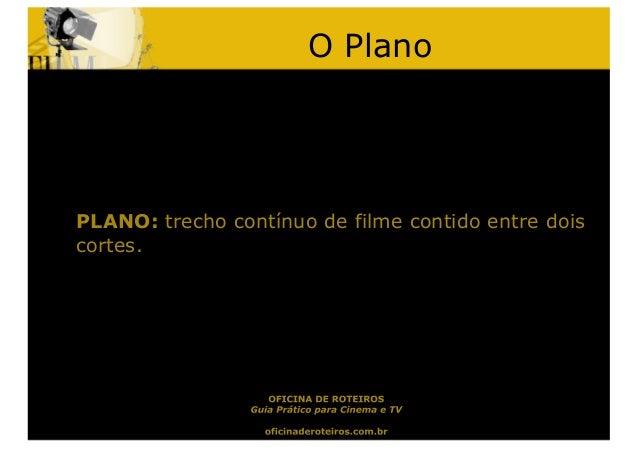 O PlanoPLANO: trecho contínuo de filme contido entre doiscortes.
