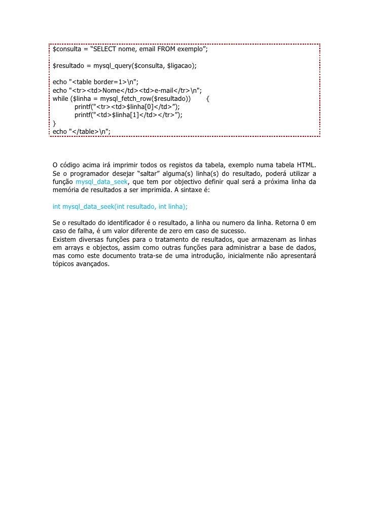 Conclusão A linguagem PHP é uma linguagem de programação de domínio específico, ou seja, estende-se a um campo de actuação...