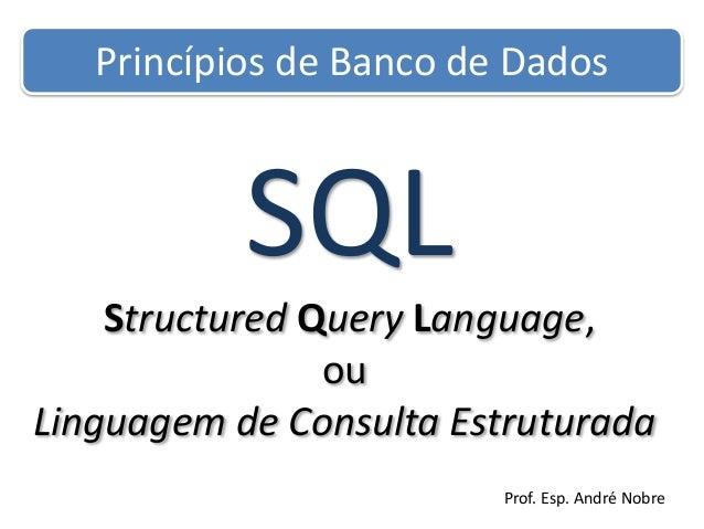Princípios de Banco de Dados  SQL Structured Query Language, ou Linguagem de Consulta Estruturada Prof. Esp. André Nobre