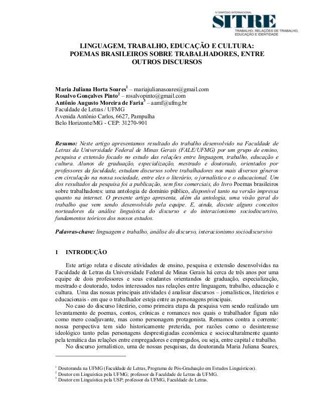 LINGUAGEM, TRABALHO, EDUCAÇÃO E CULTURA:      POEMAS BRASILEIROS SOBRE TRABALHADORES, ENTRE                    OUTROS DISC...