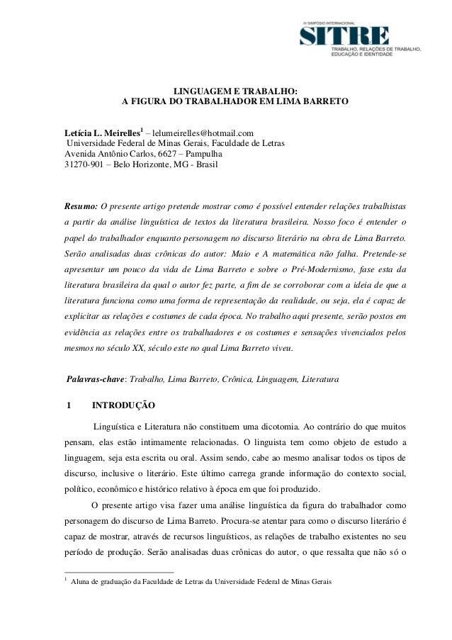 1                             LINGUAGEM E TRABALHO:                   A FIGURA DO TRABALHADOR EM LIMA BARRETOLetícia L. Me...