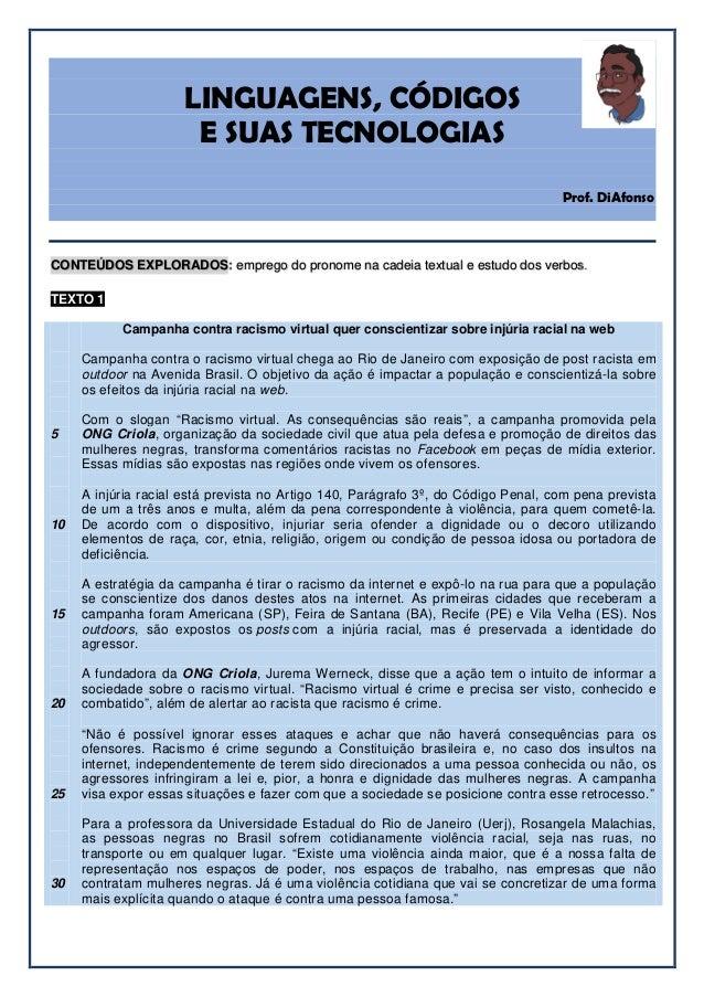 LINGUAGENS, CÓDIGOS E SUAS TECNOLOGIAS Prof. DiAfonso CONTEÚDOS EXPLORADOS: emprego do pronome na cadeia textual e estudo ...