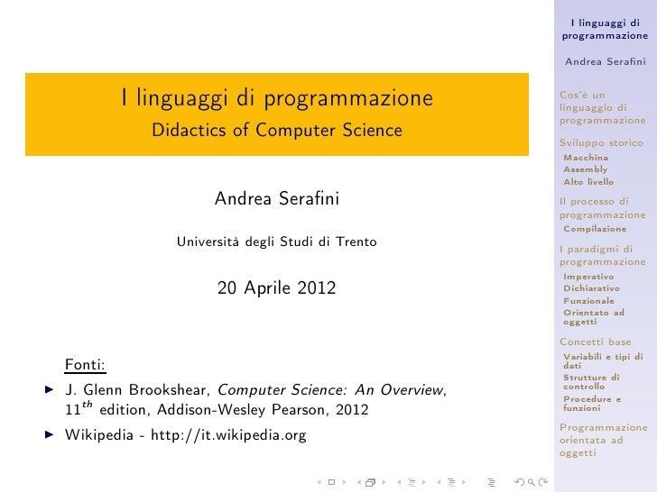 I linguaggi di                                                        programmazione                                      ...