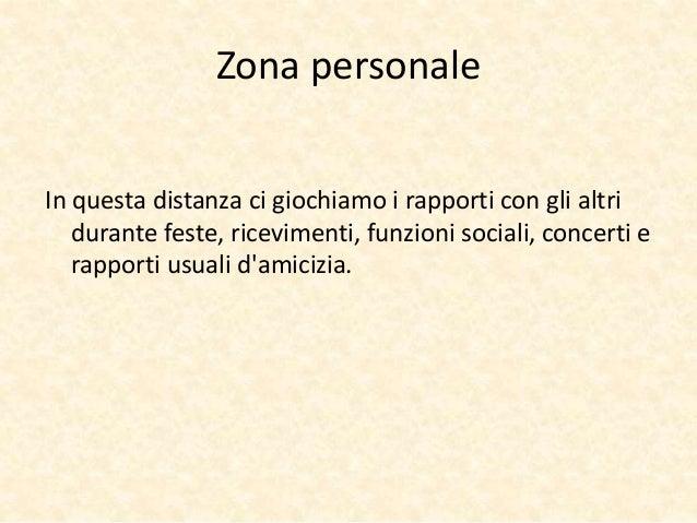 Zona personale  In questa distanza ci giochiamo i rapporti con gli altri  durante feste, ricevimenti, funzioni sociali, co...