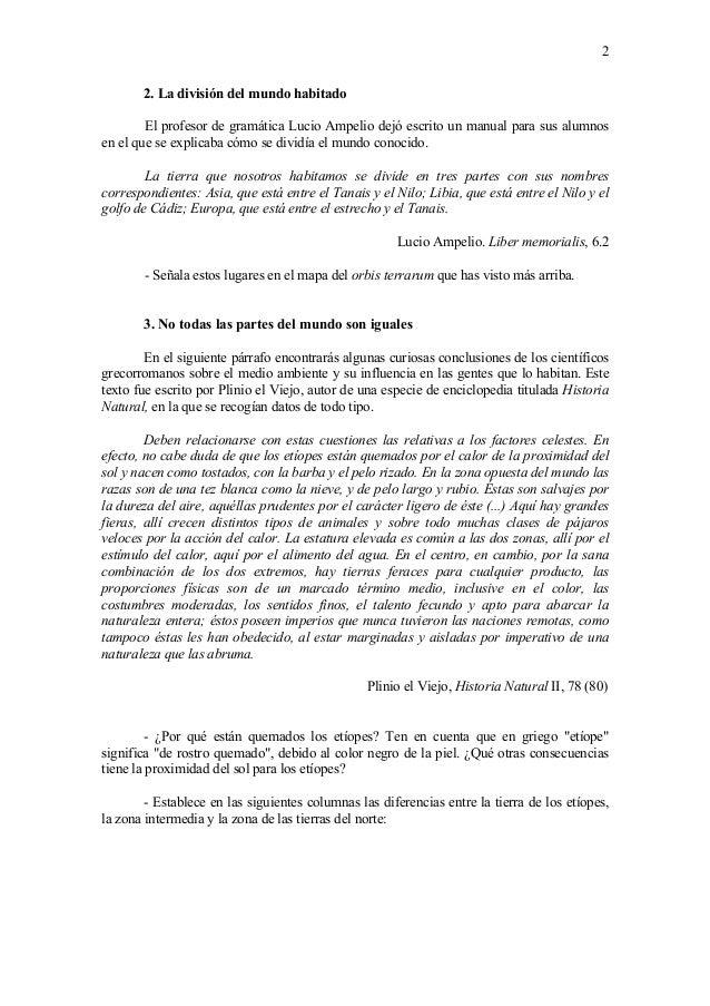 2 2. La divisi�n del mundo habitado El profesor de gram�tica Lucio Ampelio dej� escrito un manual para sus alumnos en el q...
