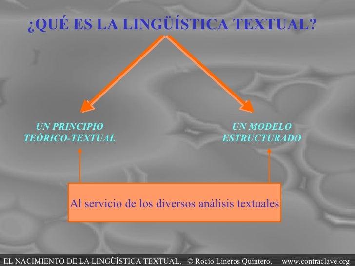 ¿QUÉ ES LA LINGÜÍSTICA TEXTUAL?  UN PRINCIPIO TEÓRICO-TEXTUAL UN MODELO ESTRUCTURADO Al servicio de los diversos análisis ...