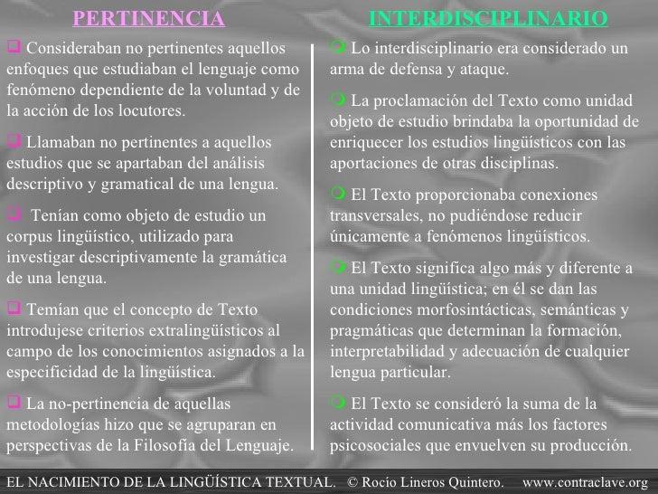 PERTINENCIA INTERDISCIPLINARIO <ul><li>Consideraban no pertinentes aquellos enfoques que estudiaban el lenguaje como fenóm...