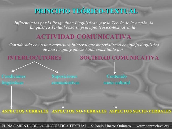 PRINCIPIO TEÓRICO-TEXTUAL Influenciados por la Pragmática Lingüística y por la Teoría de la Acción, la Lingüística Textual...