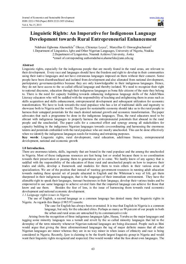 Journal of Economics and Sustainable Development ISSN 2222-1700 (Paper) ISSN 2222-2855 (Online) Vol.4, No.15, 2013  www.ii...