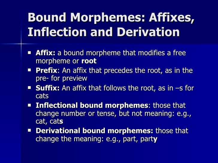 inflection and bound morphemes Morphological processes: derivation versus inflection as already mentioned in previous sections, affixes are bound morphemes however, affixes can be further categorized into two kinds.