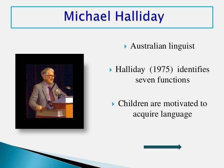    Australian linguist   Halliday (1975) identifies          seven functions   Children are motivated to        acquire...
