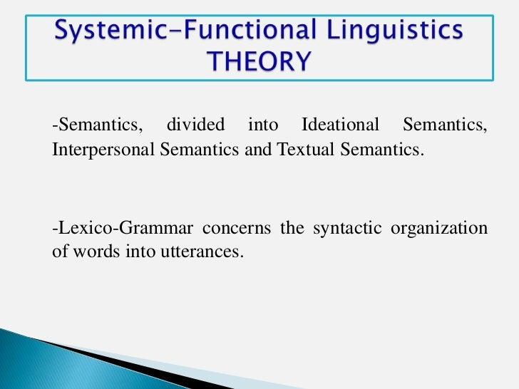 -Semantics, divided into Ideational Semantics,Interpersonal Semantics and Textual Semantics.-Lexico-Grammar concerns the s...