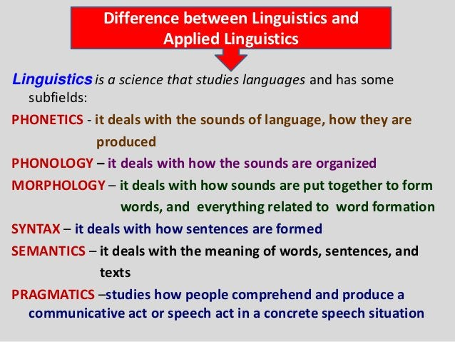 Difference between Linguistics and                     Applied LinguisticsLinguistics is a science that studies languages ...